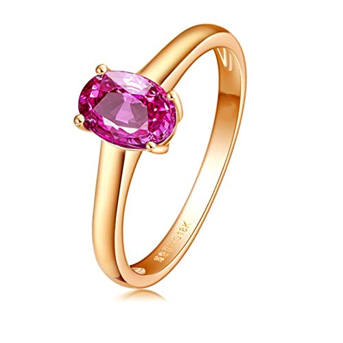 Ubestlove Wedding Ring Yellow Gold 18K Gold Ring For Women 1Ct Natural Pink Sapphire Ring 1Ct R 1/2