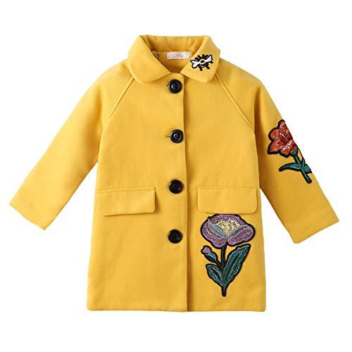 SXSHUN Mädchen Mantel Winter Jacke mit Blumenmuster Kinder Lang Verdickte Windjacke Oberbekleidung Outerwear, Gelb, 116 (Etikettengröße:120)