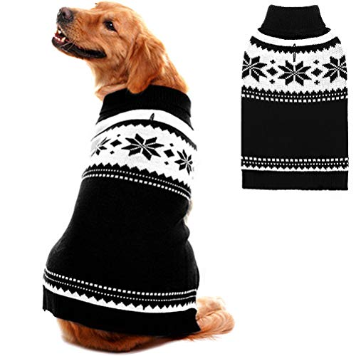 Mihachi Dog Winter Warm Sweater Coat with Snowflake Pattern Apparel Clothes for Cold Weather Black and White