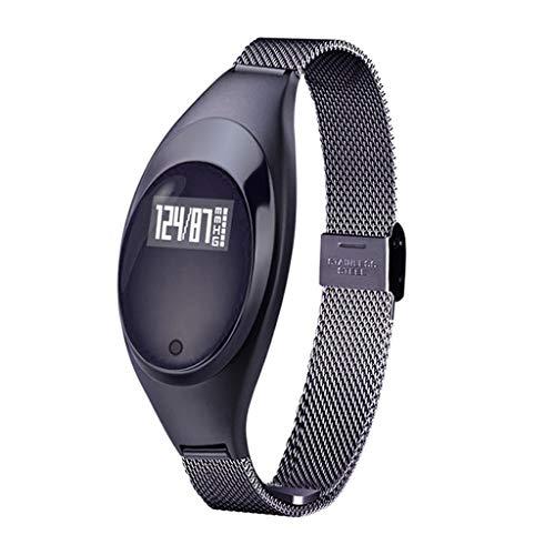 Fitnesstracker smartwatch, sphygmomanometer, hartslagmeter, riem van staal, voor dames, compatibel met Android en iOS, zwart/goud/zilver