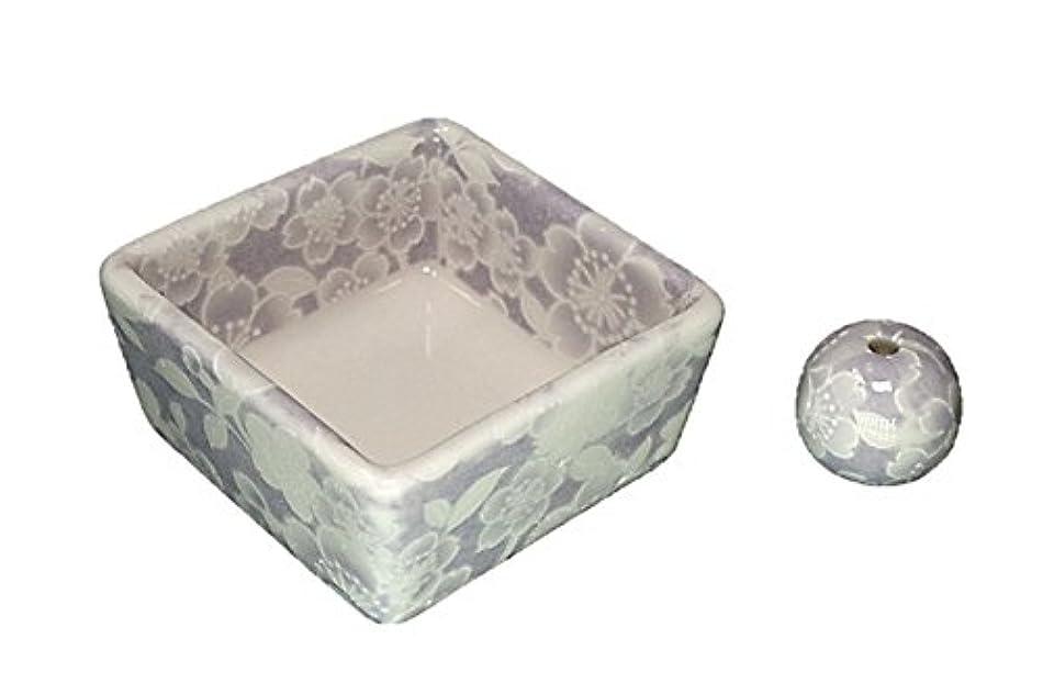 オーチャード行列通信する和モダン 桜友禅 紫 お香立て 陶器 角鉢 製造直売品