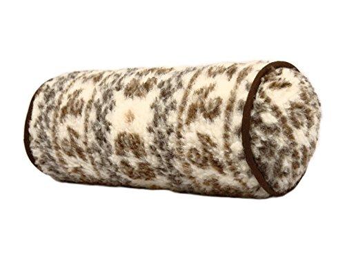 Unbekannt Nackenrolle Nackenkissen natur-braun Schurwolle 42 x 14 cm
