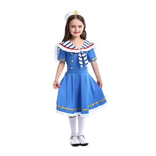 Jeff-chy Halloween Party Party Kostüme Britischer Stil Royal Small Navy Brave Matrosenanzug Mit Hut-Set Geeignet Für 3-11 Jährige Mädchen,Blau,S