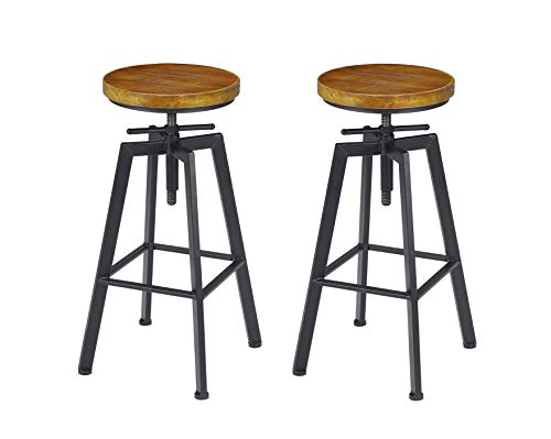 VILAVITA 2-Set Bar Stools, 24.8 Inch to 30.8 Inch Adjustable Height Swivel Counter Height Bar Chair, Retro Finish Industrial Style Wood Barstools