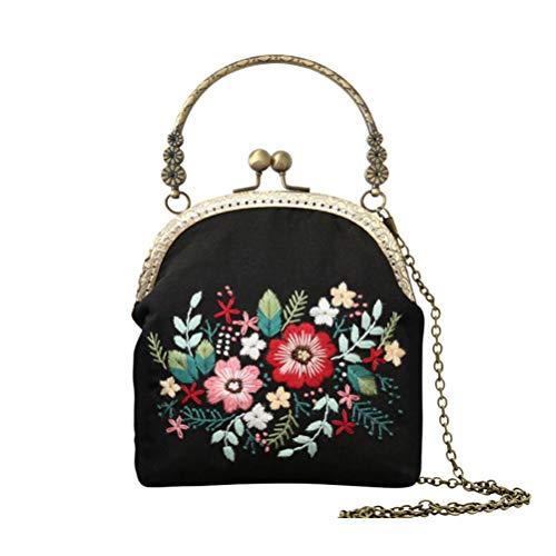 TENDYCOCO Bolsa de almacenamiento de billetera bordada hecha a mano con cuerpo cruzado vintage para mujeres niñas (cadena de cobre de 20.5 cm y estiramiento de bordado de plástico)