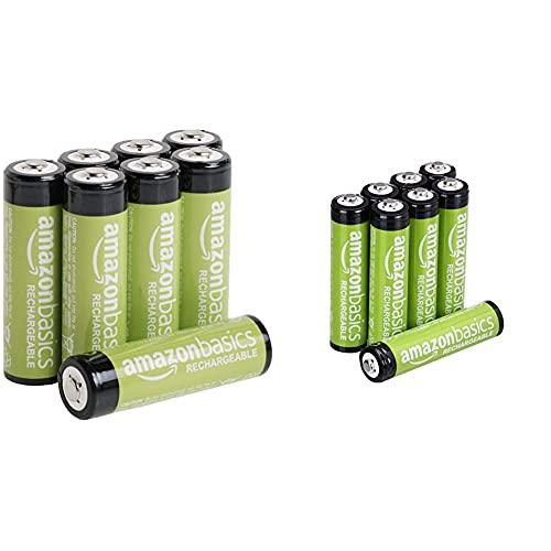 Amazon Basics AA-Batterien, wiederaufladbar, vorgeladen, 8 Stück (Aussehen kann variieren) & AAA-Batterien, wiederaufladbar, vorgeladen, 8 Stück (Aussehen kann variieren)