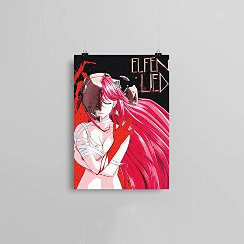 Leinwandbild, Motiv Elfen Lied Anime, nordischer Stil, Heimdekoration, Gemälde Poster für Wohnzimmer Cuadros, BO YXCV1908-06, 21 x 30 cm, ohne Rahmen