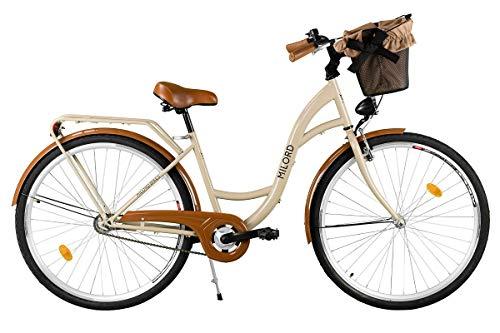 Milord. Komfort Fahrrad mit Rückenträger, Hollandrad, Damenfahrrad, 3-Gang, Braun, 26 Zoll