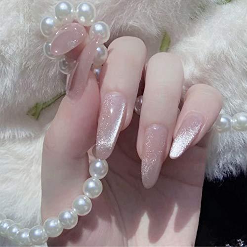 Sethexy Lange Glänzend Oval Falsche Fingernägel Funkeln Gold 24St Vollständige Abdeckung Acryl Kunst Drücken Sie auf False Nail Tips für Frauen und Mädchen (Rosa)