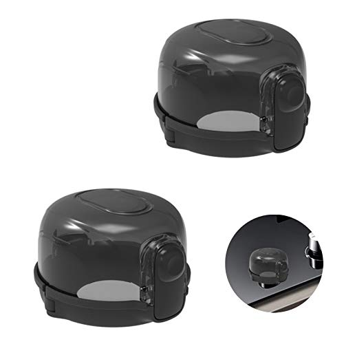 Chingde Stove Knob Guard, 2 Pcs Cooker Switch Cover Oven Knob Child Lock Kitchen Gas Stove Switch Cover for Baby Toddler Child Kitchen Safety, (Black)
