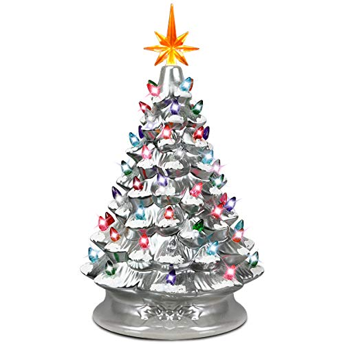 Goplus Pre-Lit Hand-Painted Ceramic Christmas Tree, Tabletop Xmas Decor, with 66 Multicolored Lights and Top Star,...