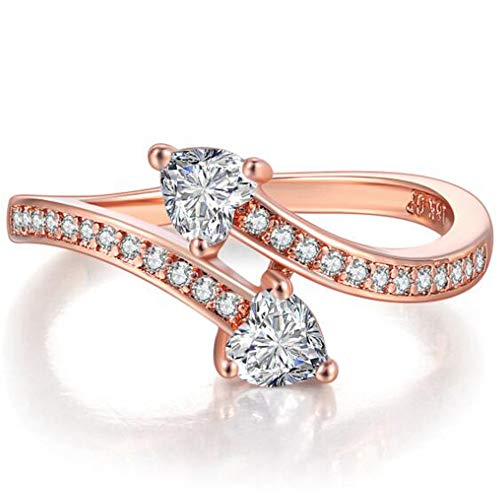Jude Jewelers Rose Gold Heart Shaped Wave Double Stone Promise Anniversary Wedding Party Ring (Rose...