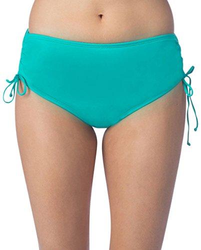 Ocean Avenue Women's Solid Adjustable High-Waist Bikini Bottom, Sea Glass, M