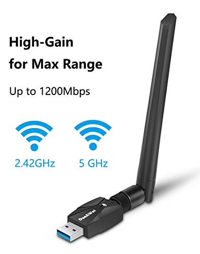 DeeAWai WiFi Adapter - 1200Mbps USB 3.0 WiFi Dongle with Dual Band 2.42GHz/300Mbps 5.8GHz/867Mbps 5dBi High Gain Antenna - Wireless Network Adapter for Desktop Laptop Mac Windows XP/Vista/7-10 Linux