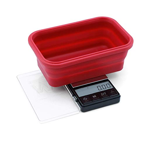 Truweigh - CRIMSON Collapsible Bowl Scale - (200g x 0.01g - Black) and Long Lasting Portable Grams Scale - Kitchen Scale - Food Scale - Postal Scale - Herb Scale - Meal Prep Scale