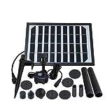 NZHK LED Solar Bomba De Fuente, Panel Solar 5W Fuente Kit con Mah Batería Recargable Y La Bomba Sumergible 2000 para El Jardín Al Aire Libre Estanque Piscina