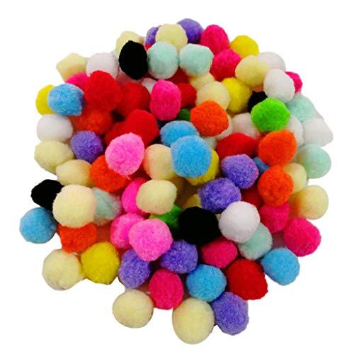 KESOTO 3,5cm Pompons Pompoms Bälle Plüschbälle für DIY Handwerk oder als Katzenspielzeug, Mischfarbe - 100 Stück