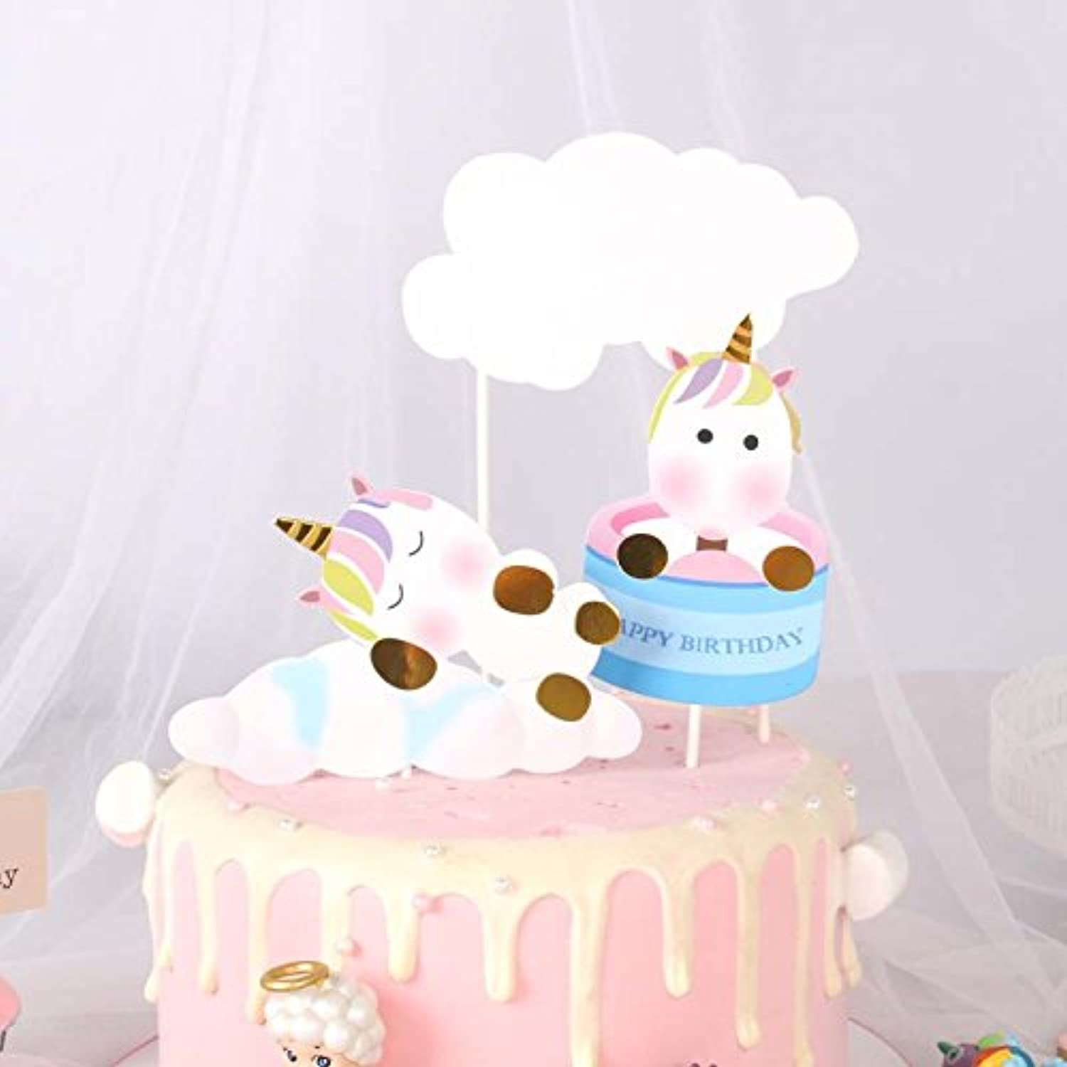 PureArte Cute Unicorns and Clouds Happy Birthday Cake Topper for Kids Party Favors Decoration (bluee)