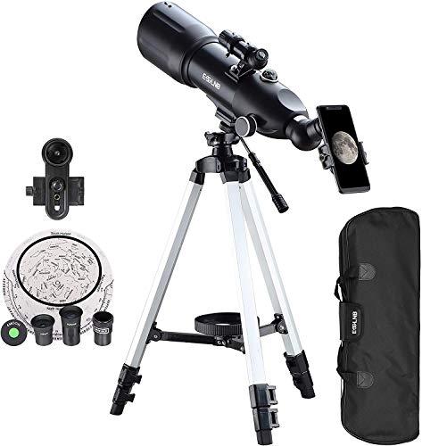 ESSLNB Teleskop Astronomie 80/400 Fernrohr Teleskop Kinder Einsteiger Erwachsene mit 10x Smartphone Adapter Ausziehbares Stativ Tasche und Mondfilter