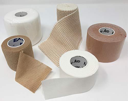 Athletic Tapes + Wraps (Includes Athletic Tape + Kinesiology Tape + Cohesive Bandage + Elastic Bandage + Tape Underwrap)