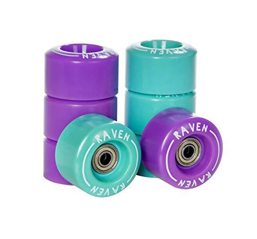 RAVEN Rollen für Rollschuhe mit Kugellager Abec7 (4X Mint + 4X Violet)