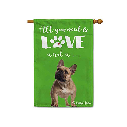 BAGEYOU All You Need is Love and a Dog Frenchie Decorative House Flag for Outside Cute Puppy Paws Green Background 28x40 Inch Printed Double Sided