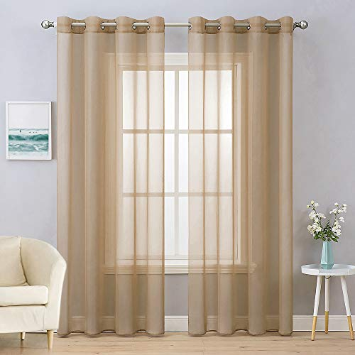 MIULEE 2 Panels Solid Color Taupe Brown Sheer Curtains Elegant Grommet Window Voile Panels/Drapes/Treatment for Bedroom Living Room (54X84 Inch)