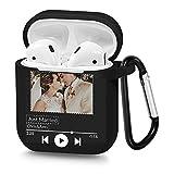Funda personalizada para Airpods con foto y texto, estilo clásico de música, suave TPU personalizado DIY Cover para Airpods 1 y 2 (negro)