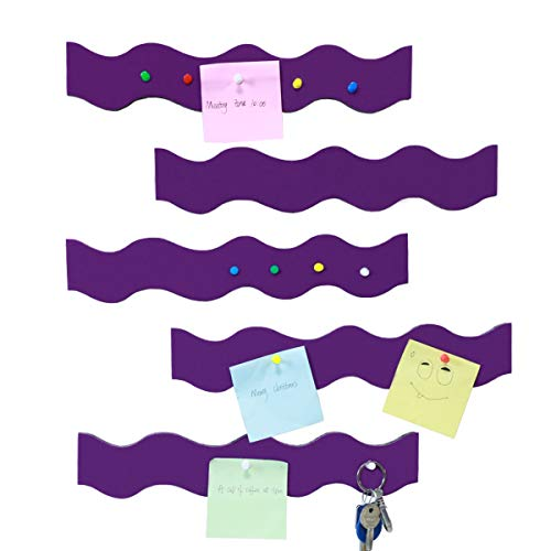 Felt Board Strip Self-Adhesive Pin Board Bar Wave Shape Memo Strip with PushpinsBulletin Board Strip for Office School Home Decor Extra Thick 0.47 Inch (Purple)