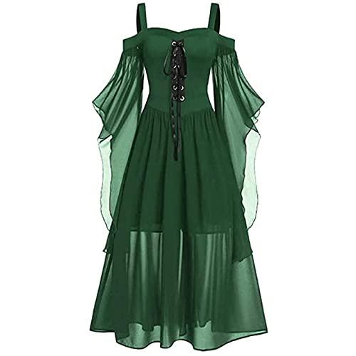 PDYLZWZY Vestido gtico para mujer de talla grande, con hombros fros, con volantes en la parte delantera, color oscuro, verde, XXXL