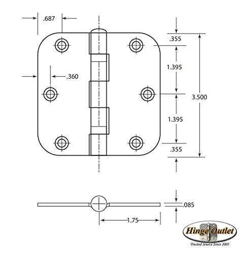 Hinge Outlet Interior Satin Nickel Door Hinges 3.5 Inch with 5/8 Inch Radius Ball Bearing, 2 Pack