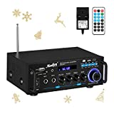 Wireless Audio Amplifier, Moukey Bluetooth Stereo Amplifiers Peak Power 100W Hi-Fi Power Amp 2 Channel Desktop Amp with LED Display Remote Control Radio Receiver for Home Speakers, MAMP3