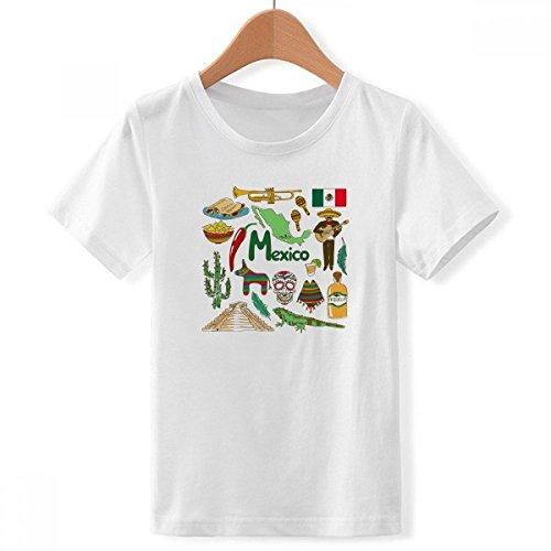 DIYthinker México Paisaje Animales Bandera Nacional de Cuello Redondo Camiseta para Chico...