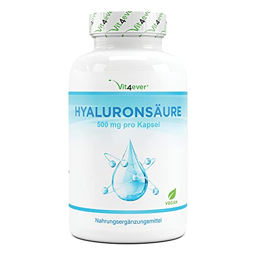 Ácido Hialurónico en cápsulas - Altamente dosificado con 500 mg - 120 cápsulas (4 meses) - 500-700 kDa - Vegetal de fermentación - Vegano