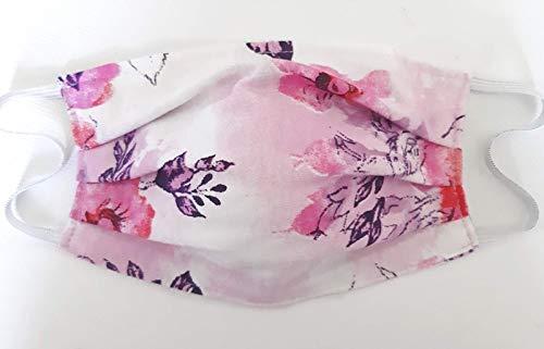 Alltagsmaske Behilfsmaske Mund Nasen Maske Mundabdeckung Baumwolle weich weiß/rosa/pink Blume