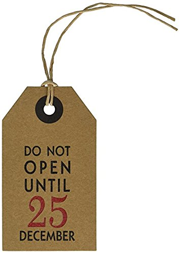 CleverDelights Gift Tags - 6 Pack - Do Not Open Until December 25 - Christmas Holiday Kraft Paper Hang Tag