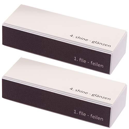 2er Set (Doppelpack) Profi 4 in 1 Feilenblock mit den Körnungen 120/180 / 1500/3000 Polierblock Nagel-Buffer Nagelpolierblock mit 4 Flächen Maniküre für gepflegte und schöne Fingernägel