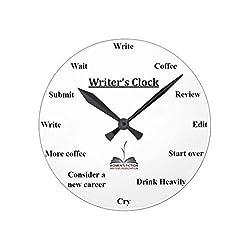Enidgunter Wall Clocks Decorative for Living Room Writers's Clock Wood Quartz Wall Clock 12 inches