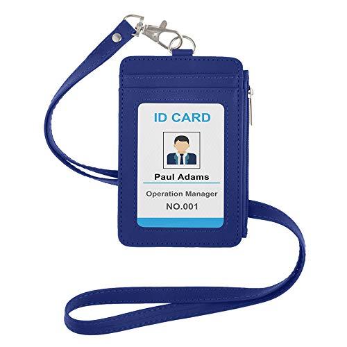 GOGO - Funda de piel sintética para tarjeta de crédito con bolsillo lateral con cremallera y cordón para el cuello desmontable, color azul talla única