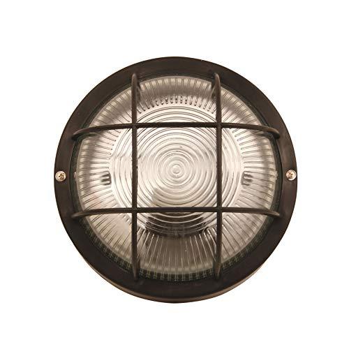 VELAMP Lampada Bubble-N Applique a Parete/plafoniera Tonda 18,8cm. in plastica + Vetro E27 Max 60W. Compatibile LED IP44: per Interno o Esterno. per Balconi, Garage, Veranda, Nero