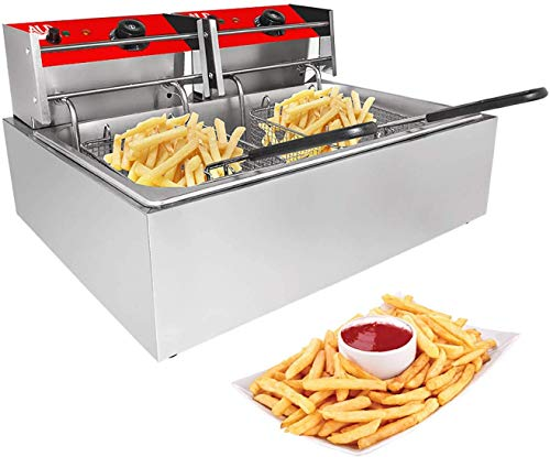 ALDKitchen Double Deep Fryer | 2-Basket Electric Fryer for Commercial Use| Stainless Steel | 12 L | 110V