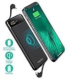 TOVAOON Chargeur Portable sans Fil 10000 mAh avec câble d'alimentation intégré avec écran LED Batterie Externe avec convertisseur de Type C Compatible avec iPhone, Samsung, iPad et Plus Encore (Noir)