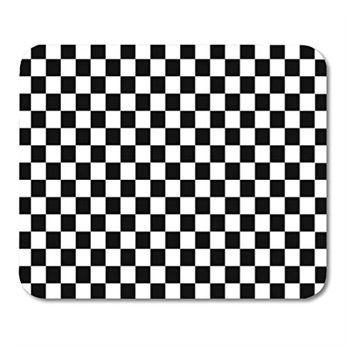 Semtomn Gaming Mouse Pad Brown Checkerboard Black and White Squares Tan Pattern Board 9.5'x 7.9' Decor Office Nonslip Rubber Backing Mousepad Mouse Mat