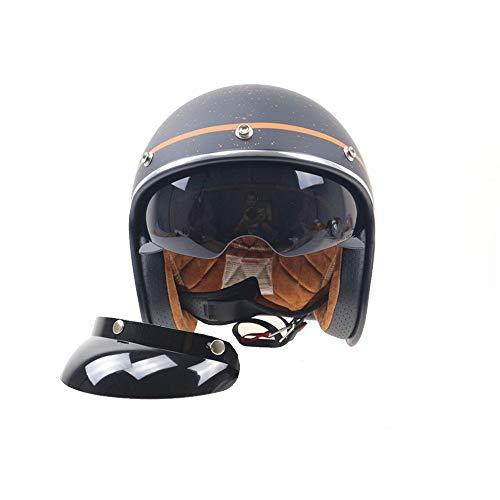 Jet Vintage Casco Moto Cuero Lentes antivaho Windproof Sandproof para Adultos Mujer y Hombre Retro Scooter Motocicleta Helmet Chopper Cruiser ECE/Dot Certificacion 55-61 cm