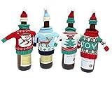Funda para botella Glodenbridge, funda suéter para botella de vino, decoración navideña y bolsa de botella tejida de regalo.(Paquete de 4)