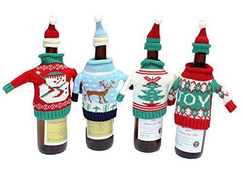 Weihnachten Flasche, glodenbridge Ugly Weihnachten Pullover Wein Flasche, Weihnachten Dekoration und Geschenk Flasche Tasche Strick. (4 Stück)