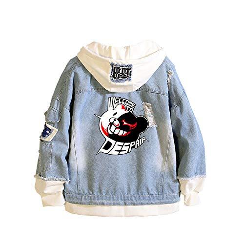 Gumstyle Danganronpa Monokuma Anime Denim Hoodie Jacket Adult Cosplay Button Down Jeans Coat 3 M