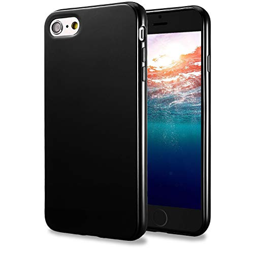 TENOC Phone Case Compatible for Apple iPhone 6S Plus and iPhone 6 Plus 5.5 Inch, Slim Fit Cases Soft TPU Bumper Protective Cover, Glossy Black