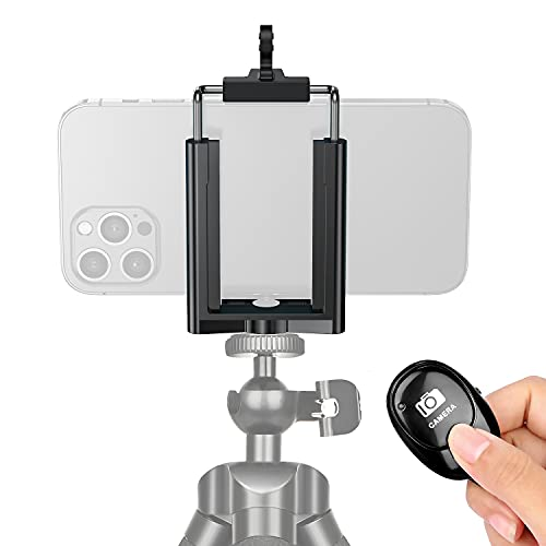 Phone Tripod Holder and Wireless Remote Control Adapter with Adjustable Clamp for iPhone 12/12 Pro Max/11 Pro Max/11/Xs Max/X/8/8P/7/7P,Samsung GalaxyS9/S9+/S8/S7/Note9/8