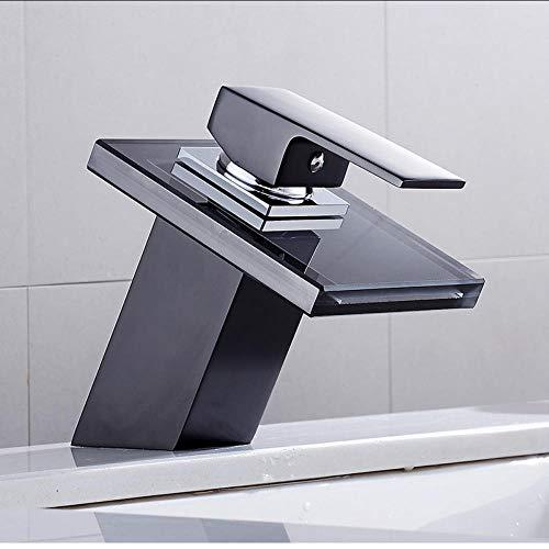 Waterkraan massief glas waterval wastafel kraan voor bad zwart plafond monteren ruimte vanity sink mengkraan eengreeps badarmaturen